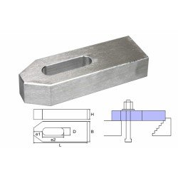 Cast aluminum clamp M6x50x20x10